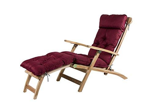 Meerweh Deckchair Auflage Sitzkissen für Liege Auflage Polsterkissen Polsterauflage mit Bänder 195 x 49 cm Bordeaux rot