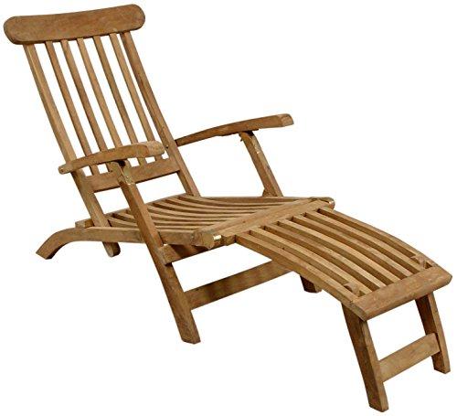 Deckchair Liegestuhl Gartenliege Holzliegestuhl massives Teakholz