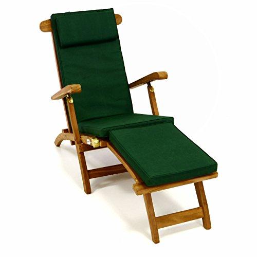 Divero Liegestuhl eleganter Deckchair Florentine Steamer Chair Teakholz Liegenauflage mit Kopfteil mit 4 Segmenten wasserabweisend Bezug abnehmbar mit Reißverschluss dunkelgrün