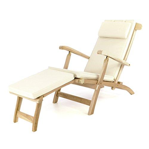 Divero eleganter Deckchair Florentine Liegestuhl Steamer Chair Teakholz unbehandelt inkl Liegenauflage mit Kopfteil Creme wasserabweisend