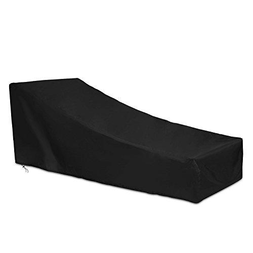Dokon Abdeckung für Gartenliege Wasserdichtes Atmungsaktives Oxford-Gewebe Deckchair Liegestuhl Sonnenliege Schutzhülle200x75x4070cm - Schwarz