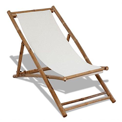 vidaXL Bambus Liegestuhl Relax Sonnenliege Deckchair Freischwinger Relaxliege