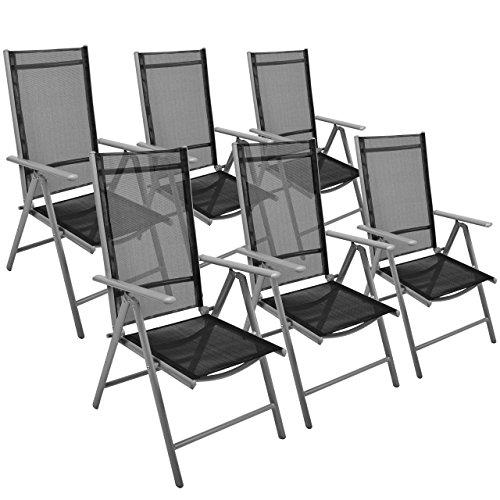 Nexos 6er Set Klappstuhl Gartenstuhl Campingstuhl Liegestuhl – Sitzmöbel Garten Terrasse Balkon – klappbarer Stuhl aus Aluminium Kunststoff - Schwarz