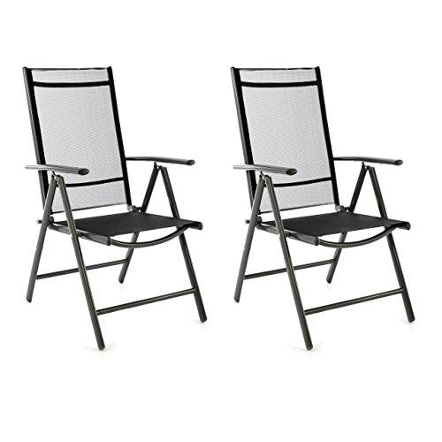 SONLEX 2er Set Klappstuhl Klappsessel Gartenstuhl Campingstuhl Liegestuhl – Sitzmöbel – klappbarer Stuhl aus Aluminium Kunststoff - schwarz Textilene  anthrazit Rahmen