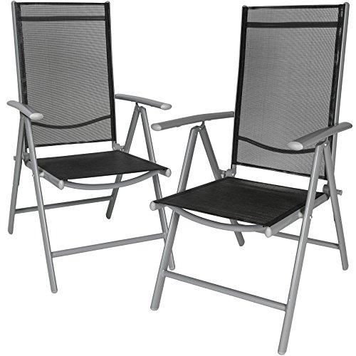 TecTake Aluminium Klappstuhl Gartenstuhl Set verstellbar mit Armlehnen - Diverse Farben und Mengen - Silber  2er Set  Nr 401631