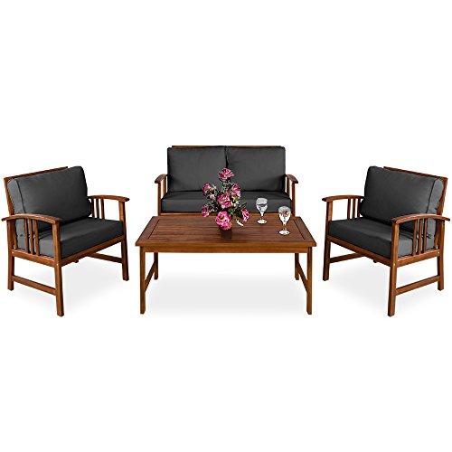 Deuba Lounge Sitzgruppe Atlas  95cm Auflagen  20cm Dicke Rückenkissen  Farbe Anthrazit  2 Sessel  1 Bank 1 Tisch aus Akazienholz  Farbauswahl  - Gartenmöbel Sitzgarnitur Garten Holz Set
