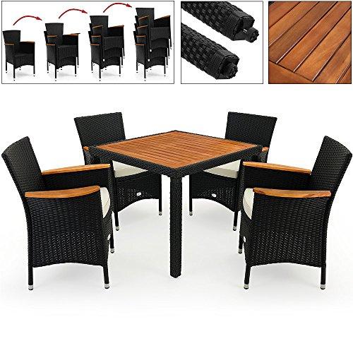 Deuba Poly Rattan Sitzgruppe 41 Schwarz  7cm dicke Sitzauflagen  4 stapelbare Stühle  Tisch  Armlehnen aus Akazienholz  wetterbeständiges Polyrattan  Modellauswahl 41  61  81  - Gartenmöbel Gartenset Sitzgarnitur Set