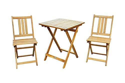 SAM 3-TLG Balkongruppe Viborg Balkongruppe aus Akazienholz 1 Tisch  2 Stühle klappbar FSC Zertifiziert