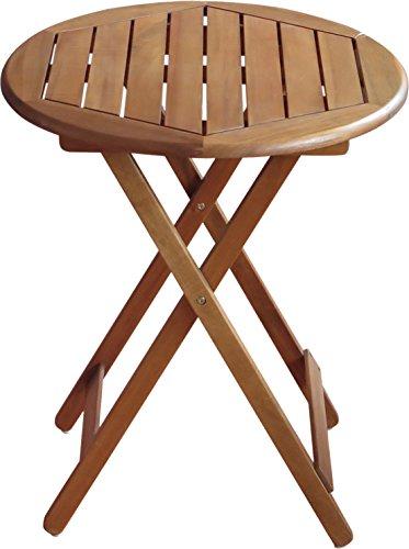 colourliving Klapptisch Gartentisch Holz massiv Akazienholz rund 60 cm Tisch Gartenmöbel