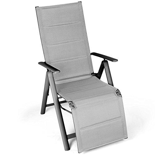 Vanage gepolsterter Gartenstuhl mit Fußableger in grau - Klappstuhl - Hochlehner - Klappsessel - Gartenmöbel - Stuhl für Garten Terrasse und Balkon geeignet