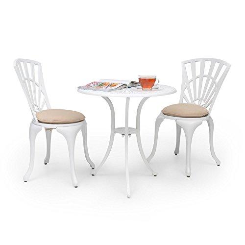 blumfeldt Valletta • Bistro-Set • Sitzgarnitur • Gartengarnitur • Sitzgruppe • 1 x Bistrotisch • 2 x Bistrostuhl • Druckguss-Alu • witterungsbeständig • gepolsterte Sitzkissen • weiß