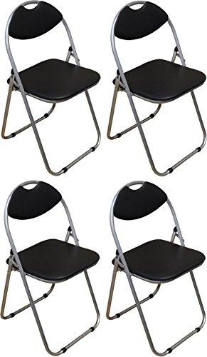Klappstuhl - gepolstert - Schwarz - 4 Stück