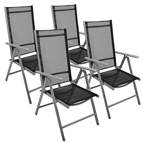 Nexos 4-er Set Stuhl Klappstuhl Gartenstuhl Hochlehner für Terrasse Balkon Camping Festival aus Aluminium verstellbar leicht stabil schwarz