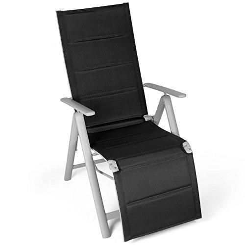 Vanage gepolsterter Gartenstuhl mit Fußableger in schwarz - Klappstuhl - Hochlehner - Klappsessel - Gartenmöbel - Stuhl für Garten Terrasse und Balkon geeignet