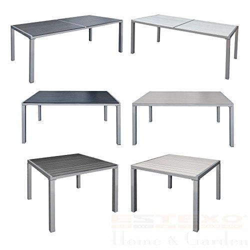 ESTEXO Gartentisch Alu WPC Terrassentisch Holzimitat Esstisch Gartenmöbel Tisch 190x90x72 cm Schwarz