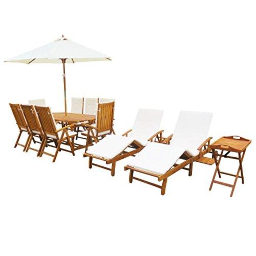 Festnight 23-TLG Garten-Essgruppe mit Kissen Gartengarnitur aus Akazienholz Gartenmöbel Set inkl 1 Esstisch  8 Stühle  2 Sonnenliegen  10 Sitz-Liegepolster  1 Beistelltisch  1 Sonnenschirm