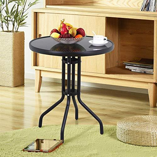 Yaheetech Bistrotisch Gartentisch Esstisch Balkontisch Gartenmöbel wetterbeständig rund 60 cm Schwarz