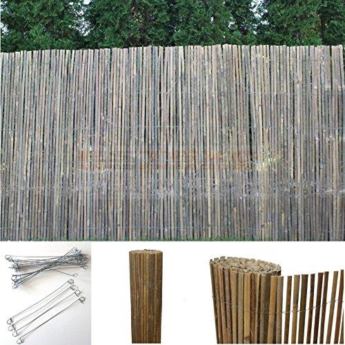 Bambus Sichtschutzmatte Windschutz Bambusmatte Sichtschutz Garten-Zaun Natur 120 cm Höhe 4m Länge