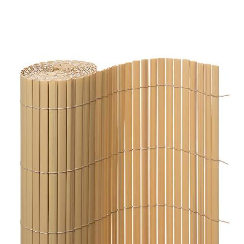 Ventanara Sichtschutzmatte PVC Sichtschutzzaun Sichtschutz Windschutz für Garten Balkon Terrasse 180 x 400 cm Bambus