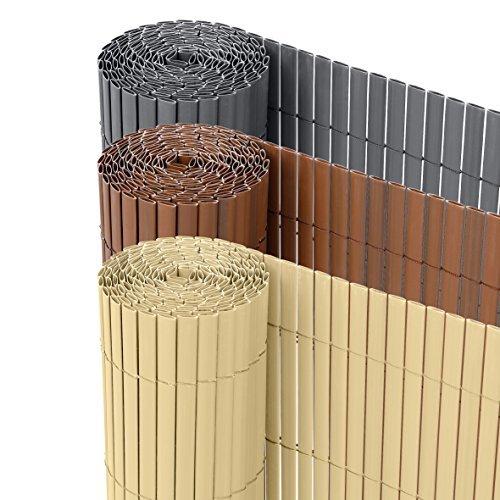 Ribelli PVC Sichtschutzmatte Sichtschutzzaun Sichtschutz Zaun Balkon Windschutz 100 x 300 cm Braun