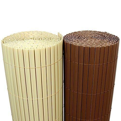 Rapid Teck 5€m² PVC Bambus Sichtschutzmatte 100cm x 300cm Braun SichtschutzWindschutz  GartenzaunBalkon Umspannung Zaun