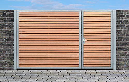 Einfahrtstor Qas Tor Holztor Gartentor Hoftor Verzinkt mit Pfosten Holzfüllung 2-flügelig 450cm x 180cm