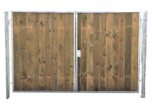 Einfahrtstor Verzinkt Holz Tor Senkrecht Asym 2-flügelig 350cm x 180cm