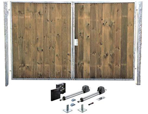 Einfahrtstor Verzinkt Holz Tor Senkrecht Sym 2-flügelig Elektro 400cm x 180cm
