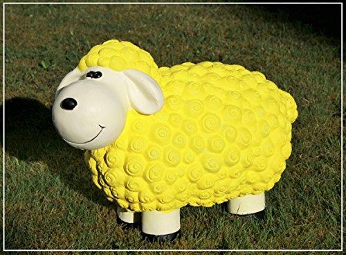 Dekofigur Schaf Martina in gelb bunte Schafe Tier Figuren für Haus und Garten