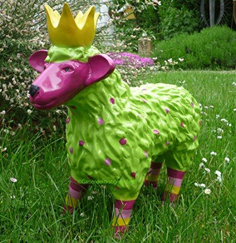 Gartenfigur lustiges buntes Schaf mit Krone Garten Deko Tier Lamm Königsschaf in GrünPink