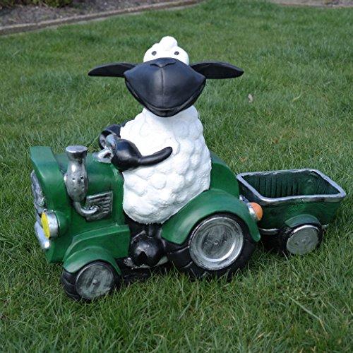 Schaf Molly auf Traktor zum Bepflanzen Tierfigur Deko Garten Terrasse