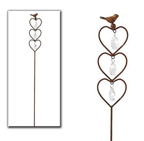 Gartenstecker Rostoptik Gartendeko Metall Herzen Kristall Stecker Rost von Haus der Herzen