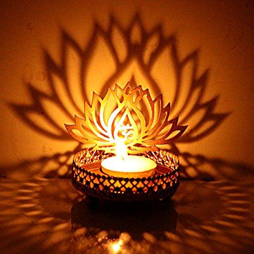 Hashcart Kerzenhalter mit traditionellem Design und Schatten-Effekt Motiv Lotussilhouette Metall für Votivkerzen und Teelichter Tischdekoration für zu Hause Wohnzimmer und Büro
