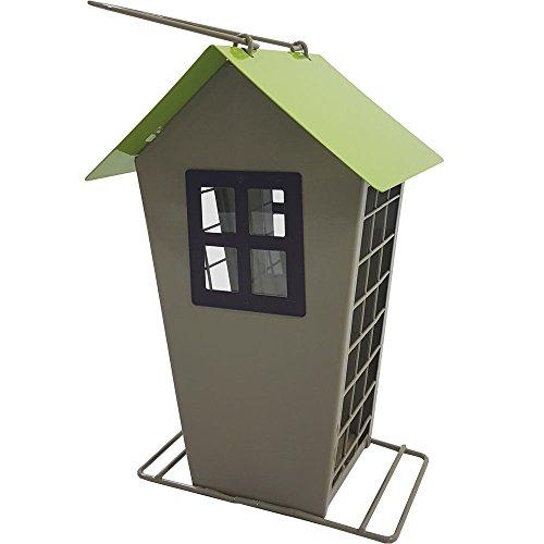 Power-Preise24 Vogelfutter-Station 22 cm aus Metall Futterspender für bis zu 1 kg Futter Vogelhaus zum Hängen Vogelfutter-Spender für Meisenknödel