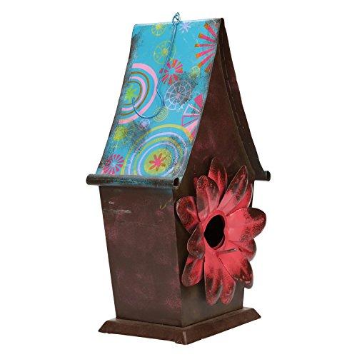 Vogelhaus aus metall zum aufhängen Deko Design Vogelhäuschen- ca 315cm x 175cm x 12cm - BlauRotBraun