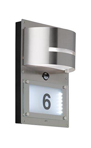 WOFI Hausnummernleuchte Metall E27 147 W Edelstahl Gebürstet Roh 125 x 22 x 32 cm