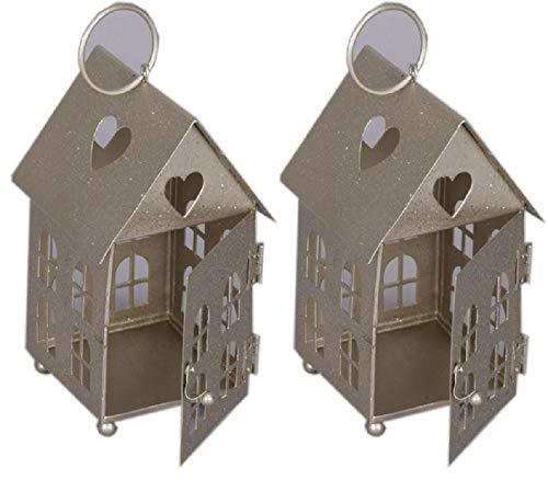 kleine dekorative Windlicht-Laterne Haus Metall champagnerfarbig Preis für 2 Stück