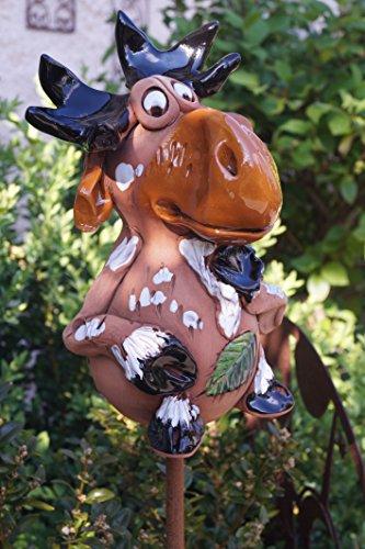 Keramik Elch Eddy Figur Garten Beet Handarbeit Dekofigur Gartenstecker