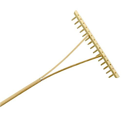 Xclou Holzrechen - Harke aus Holz mit Stiel - Rechen einreihig 15 Zinken - Laubrechen für Garten und Beet - Gartenwerkzeug - Heurechen für Gartenarbeit