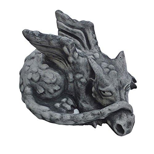 Steinfigur DRACHE Gartenfigur Tierfigur Koi massiver Steinguss