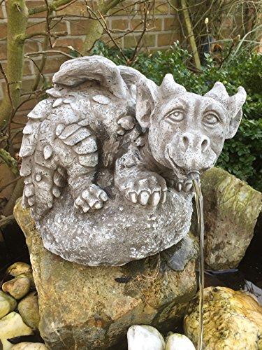 Steinfigur Drache Wasserspeier Garten Deko Steinguss Gartenfiguren Teich