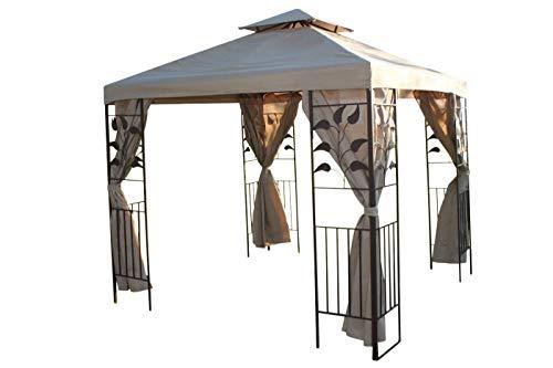 Blattdesign 25 m im Quadrat Garten-Pavillon Beige Deckenbespannung 4 Seitenbespannungen mit robustem Stahlrahmen-REDUZIERT