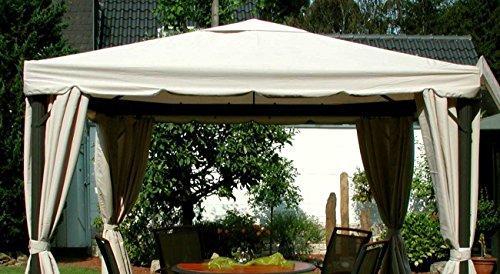 LECO Ersatzdach aus hochwertigem Polyester für den Pavillon Sahara in Naturton 3 x 3 Meter Garten Zubehör Pavillondach wetterfest wasserabweisend imprägniert natürliches zeitloses Design