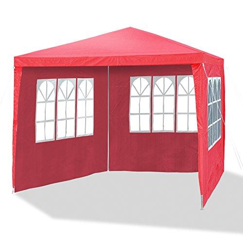 JOM 127136 Gartenpavillon 3 x 3 m Durchmesser 2418 mm inklusive 4 Seitenwände 3x Fenster 1x Tür mit Reisverschluss Material PE 110G Metallgestänge beschichtet Kunststoffverbinder Wasserdicht Heringe und Seile rot