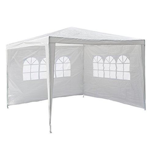 Nexos GM36090 PE-Pavillon Partyzelt mit 2 Seitenteilen für Garten Terrasse Markt Camping Festival als Unterstand und Plane wasserdicht 3 x 3 m weiß