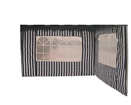 Profiline 2er Set Pavillon Seitenteile für 300 x 300 Pavillon blauweiß gestreift mit Fenster Polyester 452329