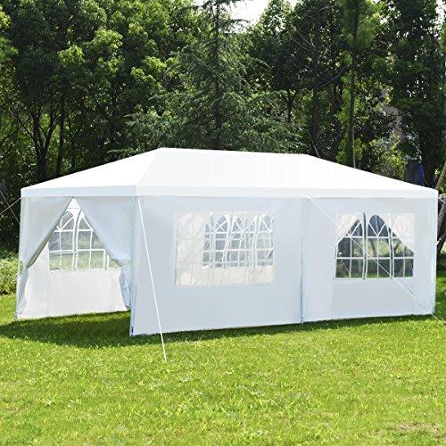 COSTWAY Partyzelt Gartenzelt Hochzeit Festzelt Pavillon Zelt Gartenpavillon Bierzelt mit Fenster 3x6m Weiß