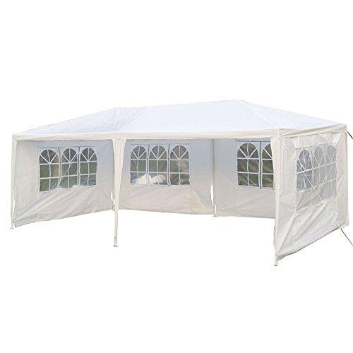 SAILUN 3 x 6 m Weiß Gartenpavillon Gartenzelt Bierzelt Pavillon Wasserdicht PE Plane inklusive 4 Seitenwände 4 x Fenster