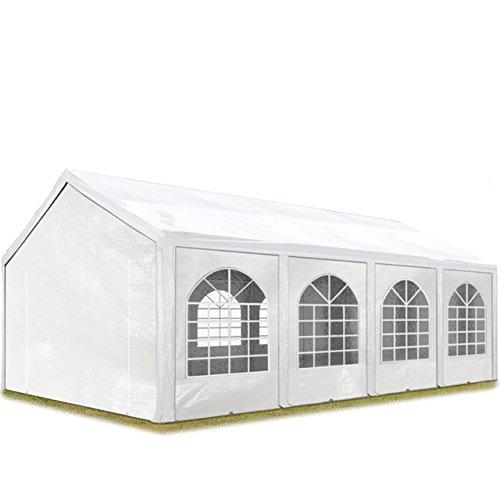 TOOLPORT Hochwertiges Partyzelt 3x9 m Pavillon Zelt 240gm² PE Plane Gartenzelt Festzelt Bierzelt Wasserdicht weiß Modell 2018