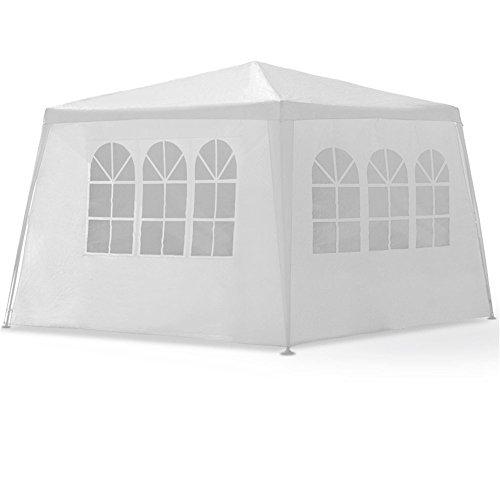 MCTECH 4 x 3 m Gartenzelt Pavillon Bierzelt Partyzelt Festpavillon inklusive 4 Seitenwände 2 x Fenster 2 x Tür mit Reisverschluss Wasserdicht PE Plane in Weiß 4 x 3 m mit 4 Seitenwände Weiß